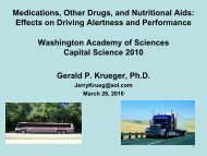 Effects on Driving Alertness and Performance - Washington ...