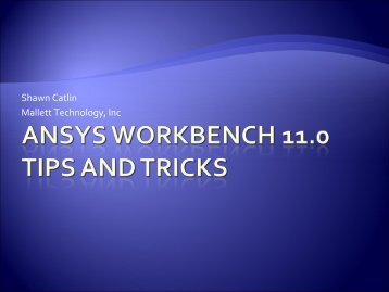 ANSYS Workbench 11.0 Tips and tricks