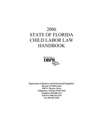 2006 state of florida child labor law handbook - MyFloridaLicense.com