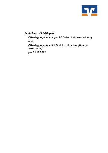 Offenlegungsbericht - Volksbank eG