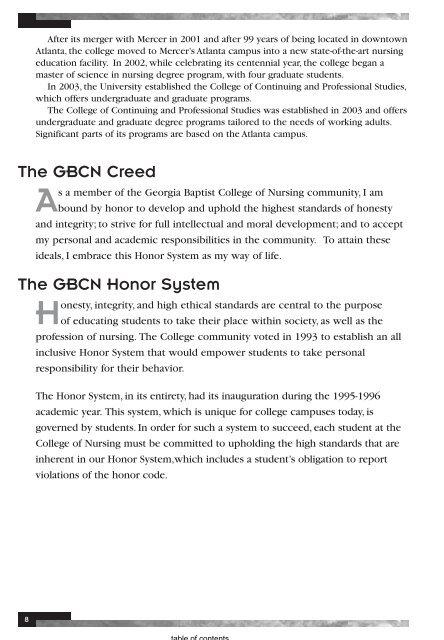 Georgia Baptist College of Nursing Catalog 2010 ... - Mercer University
