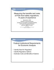 Measuring the benefits and costs of FDA food safety regulations: 15 ...