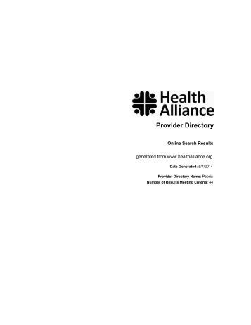 Provider Directory - Health Alliance
