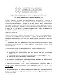 Avviso Scienze dell'educazione - Università della Valle d'Aosta