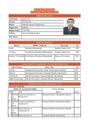 Yrd. Doç Dr. Şenol AVCI - Gölpazarı - Bilecik Üniversitesi