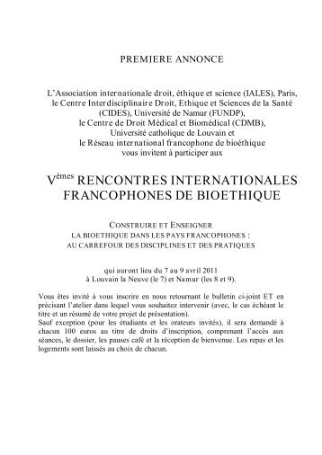 v rencontres internationales francophones de bioethique