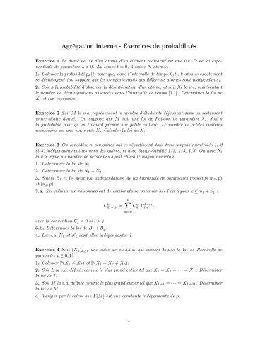 Agrégation interne - Exercices de probabilités - IREM de Rennes