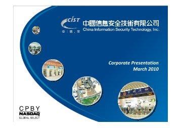 Corporate Presentation March 2010