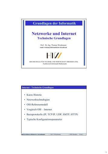 Netzwerke und Internet - Hochschule für Technik und Wirtschaft ...