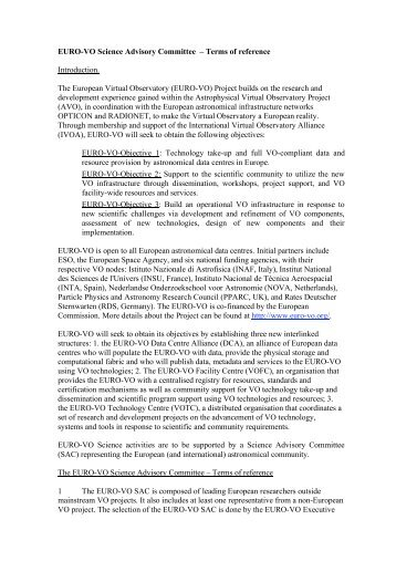 EURO-VO Science Advisory Committee – Terms of reference ...