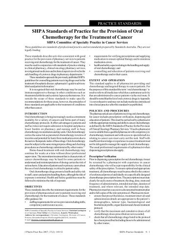 SHPA Standards of Practice for the Provision of Oral Chemotherapy ...