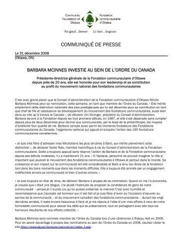 La PDG de la Fondation communautaire d'Ottawa reçoit l'Ordre du ...