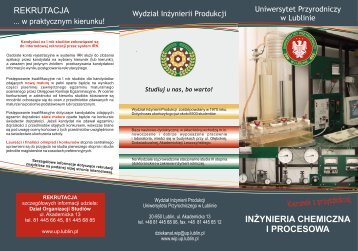 inżynieria chemiczna i proces. - Uniwersytet Przyrodniczy w Lublinie ...