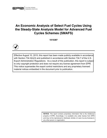 An Economic Analysis of Select Fuel Cycles Using the Steady-State ...