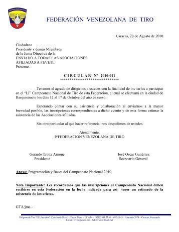 Circular Nº 11 - Federación Venezolana de Tiro