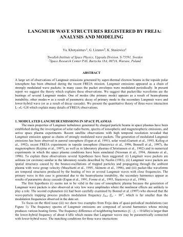 langmuir wave structures registered by freja - Space.irfu.se - Uppsala
