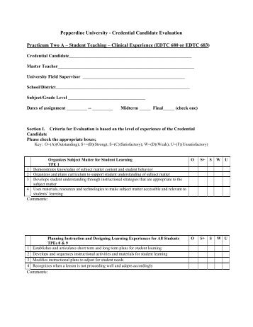 Credential Candidate Evaluation Form  Practicum B  Pepperdine