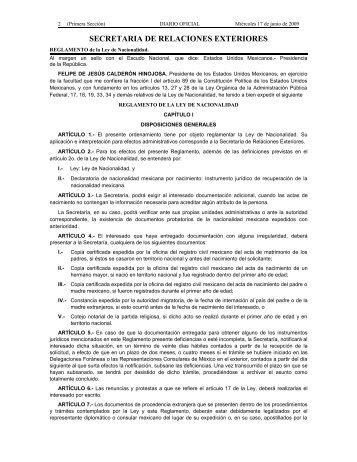 Reglamento de la Ley de Nacionalidad D.O.F. 17/06/2009.