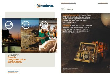 Delivering Growth Long-term value Sustainability - Vedanta
