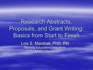 Research Abstracts, Proposals, and Grant Writing: Basics ... - IUPUI