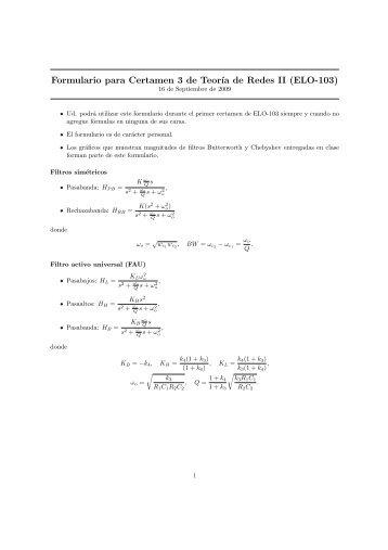 Formulario para Certamen 3 de Teor´ıa de Redes II (ELO-103)