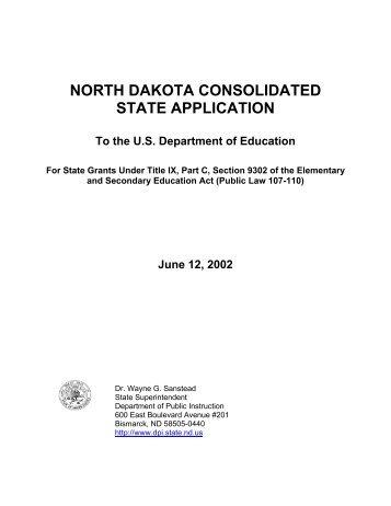 NORTH DAKOTA CONSOLIDATED STATE APPLICATION