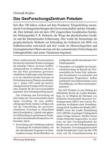 Das GeoForschungsZentrum Potsdam