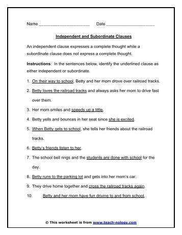 Main/Independent & Subordinate/Dependent Clauses Exercise