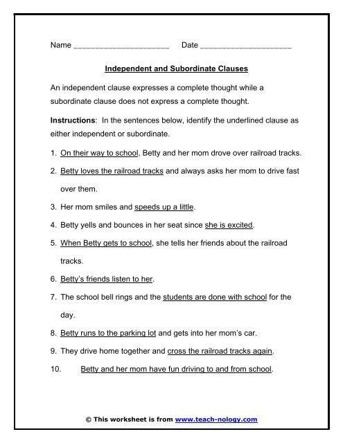 Independent and Subordinate Clauses - Teach-nology