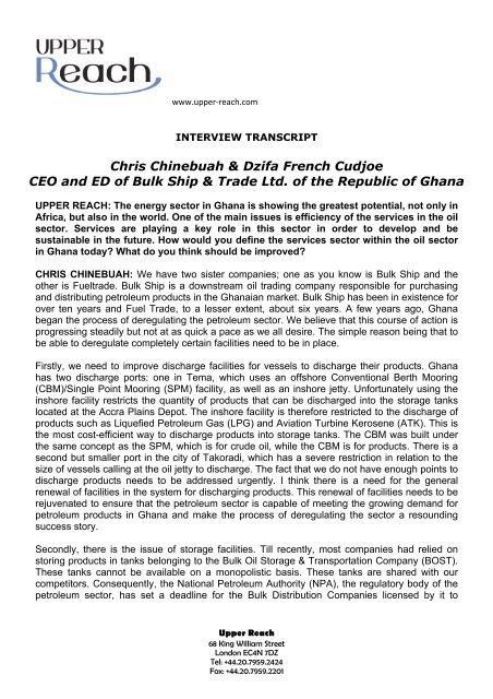 Chris Chinebuah & Dzifa French Cudjoe CEO and     - Upper Reach