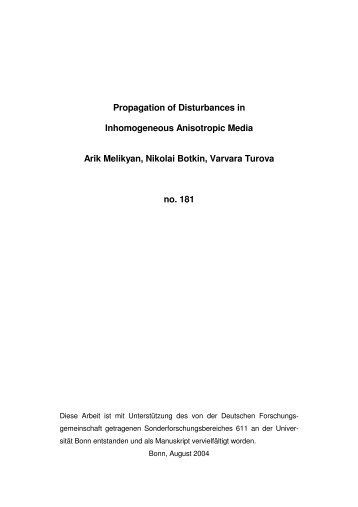 Propagation of Disturbances in Inhomogeneous ... - SFB 611