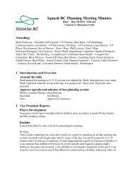 Minutes of Planning Meeting June, 2011 (download PDF) - Squash BC