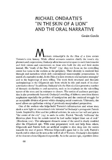 """michael ondaatje's """"in the skin of a lion"""" and the oral narrative"""