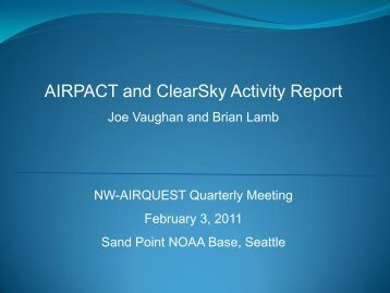 AIRPACT and ClearSky Activity Report - Laboratory for Atmospheric ...