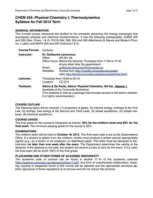 Physical Chemistry I: Thermodynamics Syllabus for Fall 2012 Term