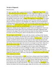 The Epic of Gilgamesh Plot Overview The epic's prelude offers a ...