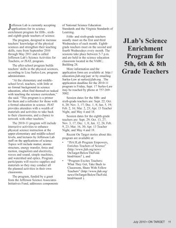 JLab's Science Enrichment Program for 5th, 6th & 8th Grade Teachers