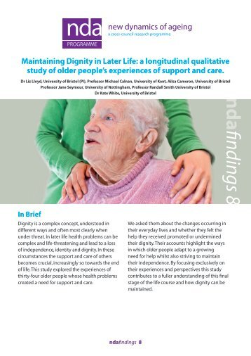 Maintaining Dignity in Later Life - New Dynamics of Ageing ...