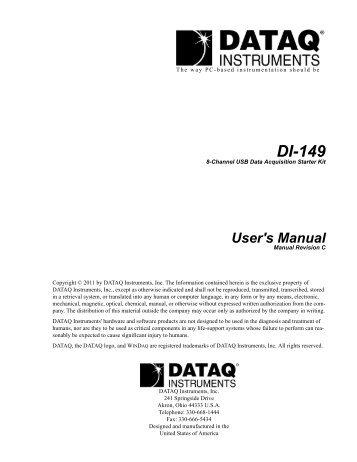 DI-149 USB Data Acquisition Starter Kit - DATAQ Instruments