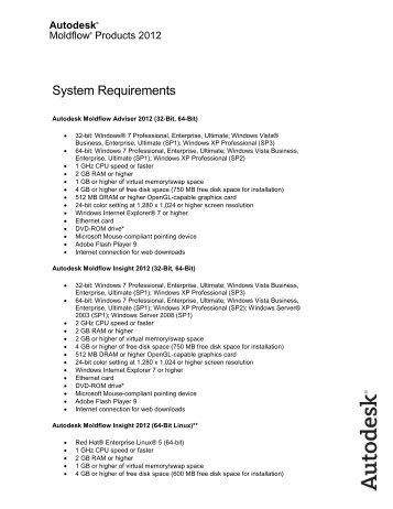 Autodesk Moldflow 2012 system requirements