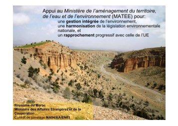 Appui au Ministère de l'aménagement du territoire, de l'eau ... - INBO