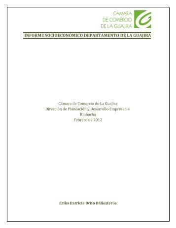 informe socioeconómico departamento de la guajira - Cámara de ...