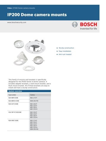 IP200 Dome camera mounts - Bosch Security Systems