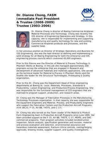 Dr. Dianne Chong, FASM Immediate Past ... - ASM International