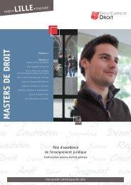 Plaquette Masters - Faculté Libre de Droit