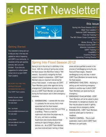 CERT Newsletter - Issue 4 - January 2012.pub - City of Wahpeton