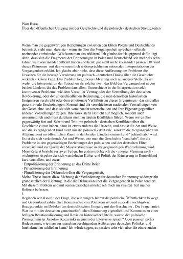 Über den öffentlichen Umgang mit der Geschichte und die polnisch