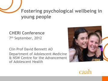Fostering psychological wellbeing in young people. - CHERI - The ...