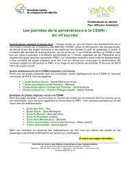Communiqué - Commission scolaire de la Seigneurie-des-Mille-Îles
