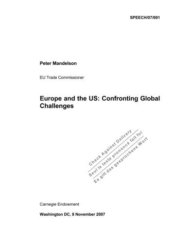 Europe and the US: Confronting Global Challenges - IFA Home Page